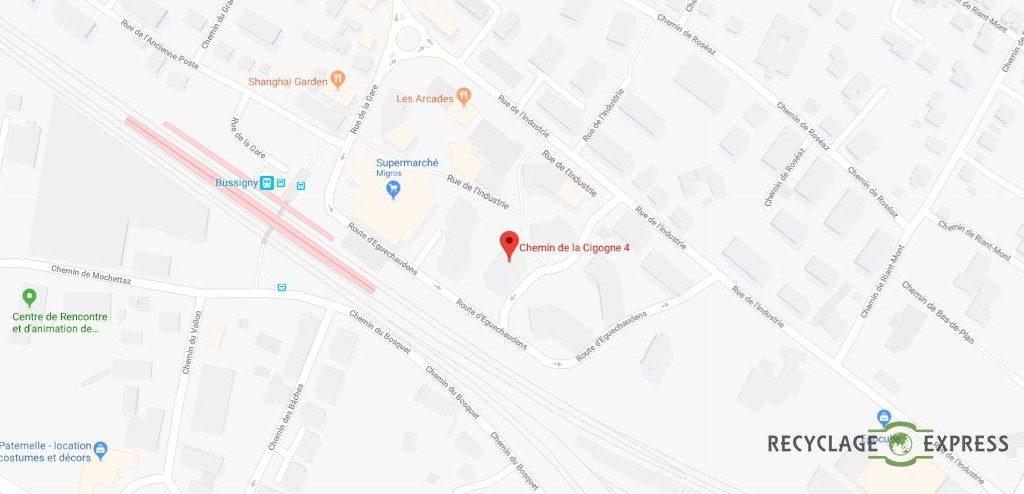 Localisation de l'entreprise sur une carte