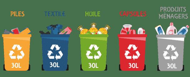 poubelles recyclage express piles textile huile capsulesACafe produits menages 4X30litres - Recyclage Express
