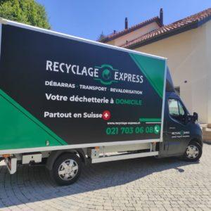 Camion noir de Recyclage Express - Nouveau design